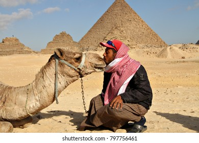 GIZA, EGYPT - 2 JANUARY 2018: A young camel rider interacting with his camel near the Pyramids of Giza. Camel rides through the desert are a popular tourist attraction near the Pyramids. Editorial.