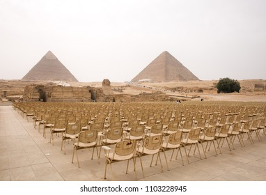 GIZA, EGYPT, APRIL 20: Seating arrangement in the venue where light and sound program are performed at Giza complex, Cairo, Egypt on April 20, 2018