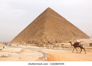GIZA, EGYPT, APRIL 20: Tourists visits the Great Pyramid at Giza complex, Cairo, Egypt on April 20, 2018
