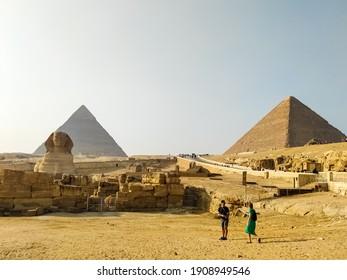 Giza, Egypt - December 21, 2020: Pyramids at Giza in Egypt