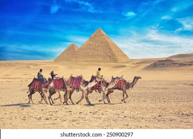 GIZA, EGYPT - JAN 31, 2015: Bedouins on camel near of great pyramid in egypt