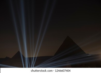 Giza egypt pyramids with laser Show in the night