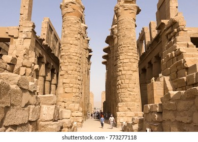 Giza Museum Complex, Egypt - 27 August 2017: Buildings and columns of ancient Egyptian megaliths. Ancient ruins of Egyptian buildings
