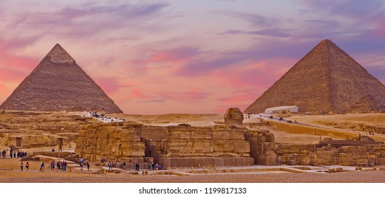 The giza plateau in the sahara desert. great pyramids in Cairo