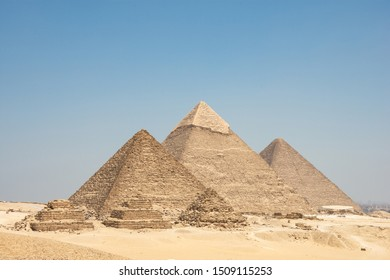 The Giza pyramid complex, also called the Giza Necropolis on the Giza Plateau in Egypt that includes the Great Pyramid of Giza, the Pyramid of Khafre, and the Pyramid of Menkaure,