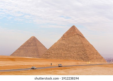 The Giza pyramids from the backside, Egypt