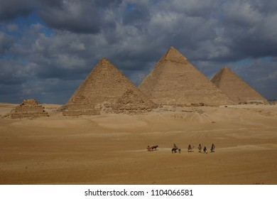 Giza Pyramids in clouds - Cairo, Egypt