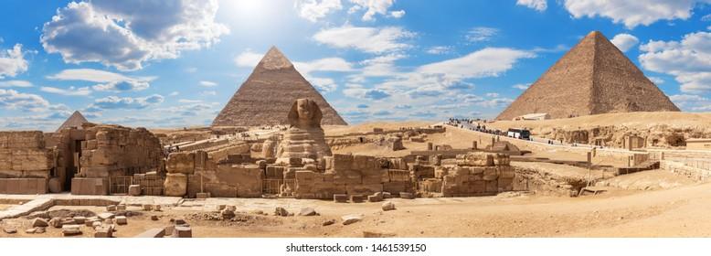 Giza Pyramids and the Sphinx, beautiful Egyptian panorama