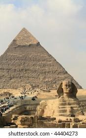 Giza pyramids and Sphinx Cairo