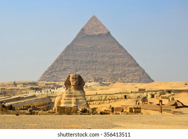 GIZA,EGYPT - DECEMBER 8 2015: Great Sphinx is 73 meters long and 20 meters high and is believed to have been built by ancient Egyptians of the Old Kingdom during the reign of the Pharaoh Khafra.