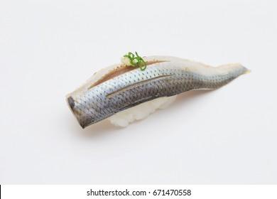 Gizzard shad Sushi on white background