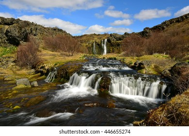 Gjain valley with its waterfalls, streams and ponds in the south of Iceland