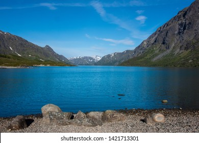 Gjende lake in the Jotunheimen mountains in Norway's Jotunheimen National Park. The starting point of one of the most popular hiking trails in Norway - the Besseggen