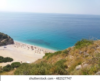 Gjipe beach view with rock in Albania at Ionian sea