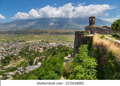 Gjirokaster Albania- 28 June 2014: Clock tower in Gjirokaster castle, a UNESCO World Heritage site in south of Albania.