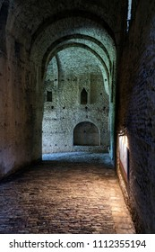 GJIROKASTER, ALBANIA - JUNE 1, 2018: The catacombs in old fortress. Castle erected by Ali Pasha of Tepelena in the early 19th century. Gjirokaster is World Heritage Site by UNESCO