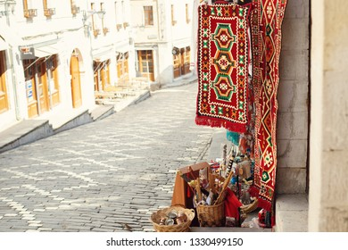 Gjirokaster, Albania - March, 2019: Downtown of Gjirokaster, a UNESCO World Heritage site in south of Albania, Old Ottoman Bazaar