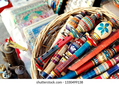 Gjirokaster, Albania - March 2019: Old Ottoman market traditional handcrafted items for sale, souvenir from Albania.