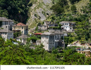 Gjirokaster, Albania - May 30, 2018: Downtown of Gjirokaster, a UNESCO World Heritage site in south of Albania.
