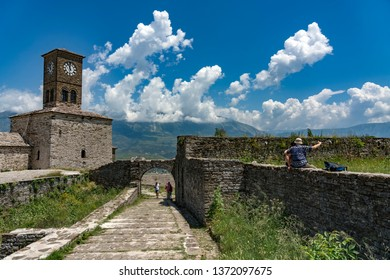 Gjirokaster, Albania - May 30, 2018: Gjirokaster castle, a UNESCO World Heritage site in south of Albania.