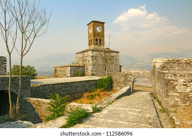 Gjirokast�«r (Gjirokaster) is a city in southern Albania. The Clock Tower of Castle, erected by Ali Pasha of Tepelena in the early 19th century. World Heritage Site by UNESCO