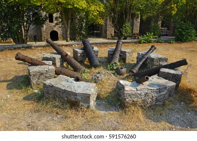 Gjirokaster in southern Albania. The old fortress cannon in the castle courtyard. Castle erected by Ali Pasha of Tepelena in the early 19th century, World Heritage Site by UNESCO