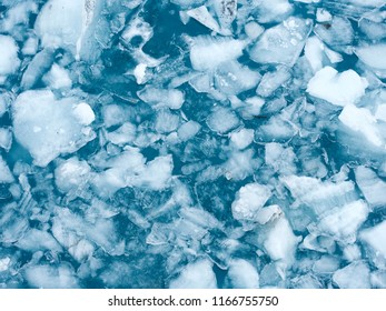 Glacial Ice Floating in the Sea