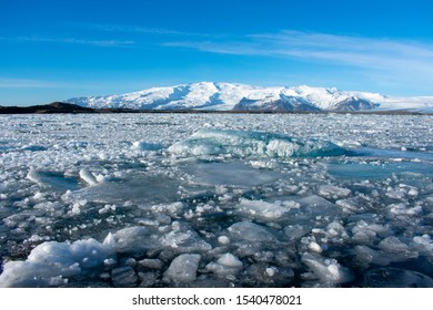 Jökulsárlón glacial lagoon in Iceland, big chunks of ice floating on water