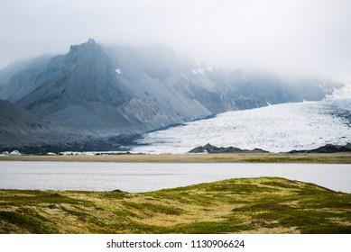 Glacial lake Breidarlon. Vatnajokull National Park, Iceland, Europe. Amazing tourist attraction
