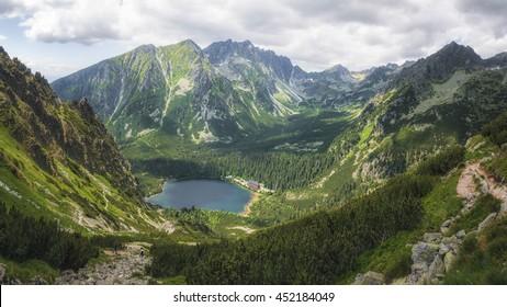 Glacial Lake Popradske Pleso in High Tatras National Park, Slovakia