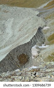 Glacial lateral moraine, broken rocks deposited by a retreating (shrinking) glacier, caused by a warming climate