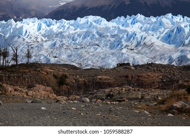 Glacial mountain scenery around the Perito Moreno Glacier in Patagonia Argentina.