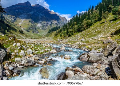 Glacial river in Himalayan mountain valley. Natural mountain landscape.