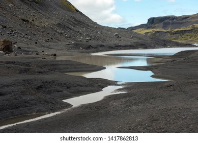 Glacial river in Iceland flowing from the melting icecap of Solheimajokull glacier