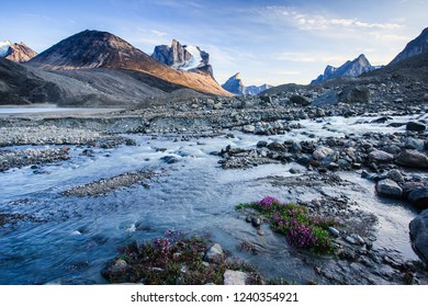 Glacial runoff from Glacier Lake in Akshayuk Pass, Auyuittuq National Park, Baffin Island