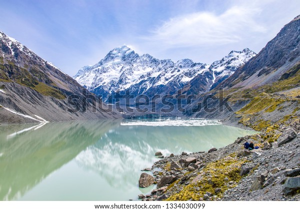 Glacial waters on Hooker Valley Trail, Mount Cook National Park, New Zealand.