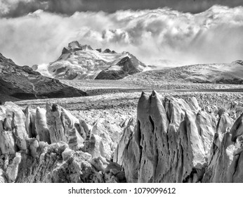 Glacier in Argentina black and white