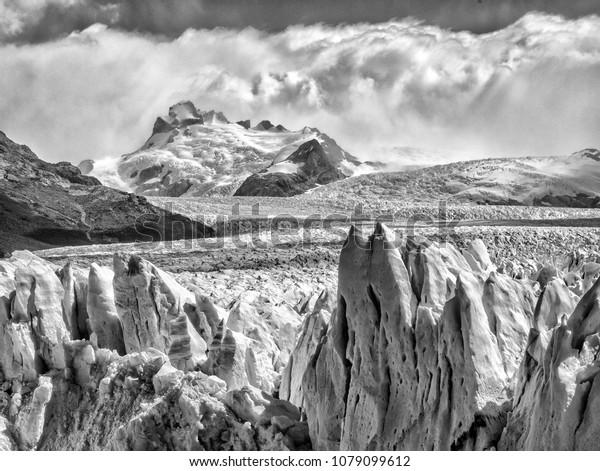 Glacier in Argentina black and white