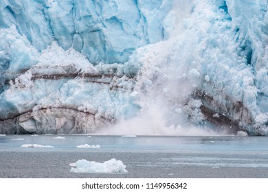 A glacier with blue ice in Kenai Fjords National Park in Alaska.
