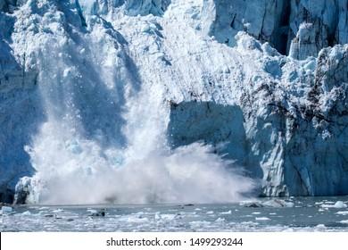 Glacier calving in Glacia Bay Alaska