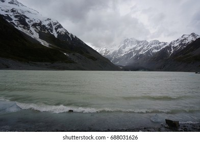 glacier and cloudy mount cook