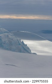 Glacier and dark sky during an Antarctica expedition on on Mount Vinson, Sentinel Range, Ellsworth Mountains. Vinson is one of the 7 Summits.