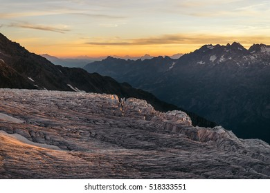 Glacier du Tour and the alpine mountains at dusk, Chamonix-Mont-Blanc,Haute-Savoie, Auvergne-Rhone-Alpes.