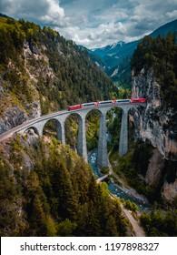 Glacier express in Switzerland- Landwasser Viaduct
