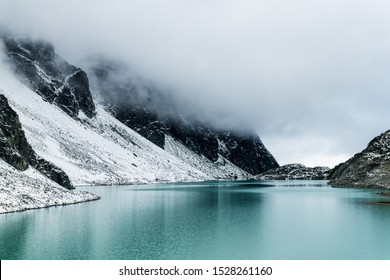 Glacier fed lake in the high alpine regions of Wedge mountain in Whistler, Canada