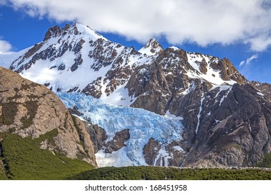 Glacier in Fitz Roy Range is one of Patagonia's premier traveler magnets, Los Glaciares National Park, Argentina.