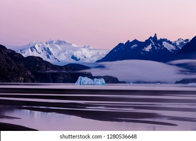 Glacier Grey at Sunrise. Lago Grey. Torres del Paine National Park. Chile. South America. UNESCO biosphere.