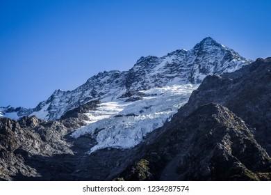 Glacier in Hooker Valley, Aoraki Mount Cook, New Zealand