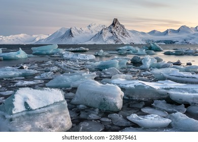 Glacier ice floating in the Arctic fjord - Spitsbergen