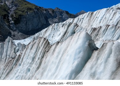 Glacier ice formation in New Zealand mountain range